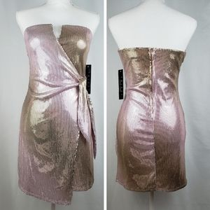 Trixxi Sequin Dress Strapless Rose Gold New NWT